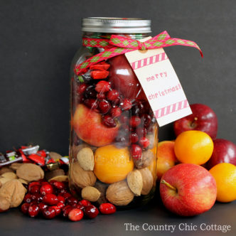 Make this fruit basket in a jar for those on your gift giving list this holiday season! This is a great traditional Christmas gift with a modern spin. It is in a very large jar from Ball that works perfectly for this gift in a jar idea!