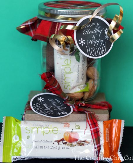 Make this healthy holiday gift in a jar in just minutes! Includes free printable healthy gift tags for any gift! A fun way to help friends and family stay on track during the holidays and the new year!