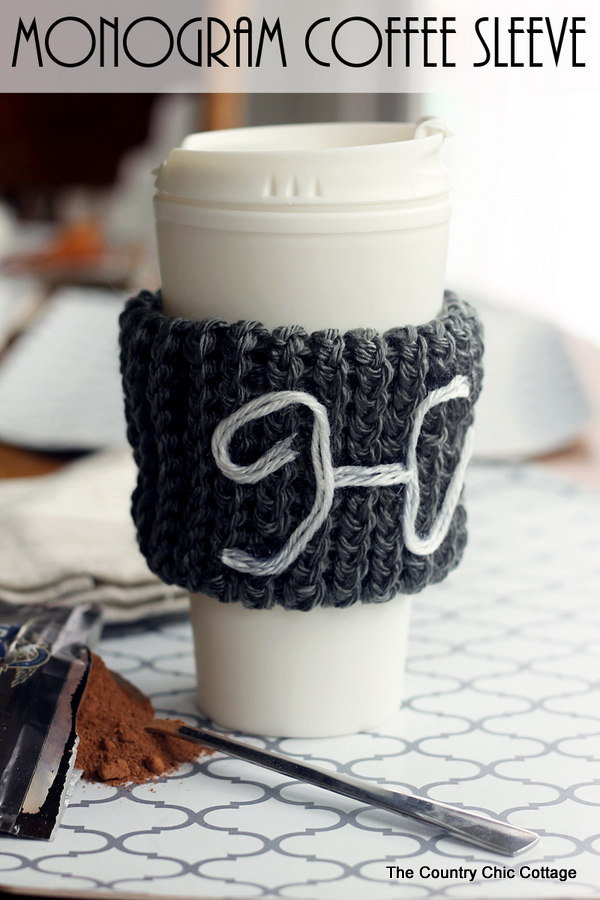 Make this monogram coffee sleeve with a knitting loom! This makes a great gift and is a great beginner's project for knitting!