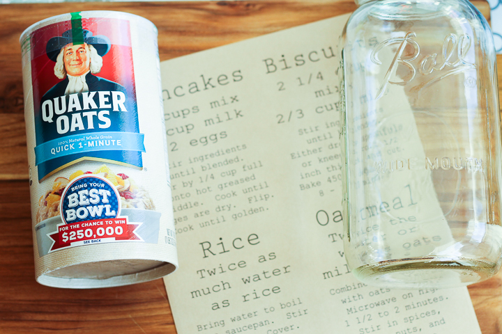 You can add these printable pantry labels to mason jars to help organize go-to pantry staples like oatmeal
