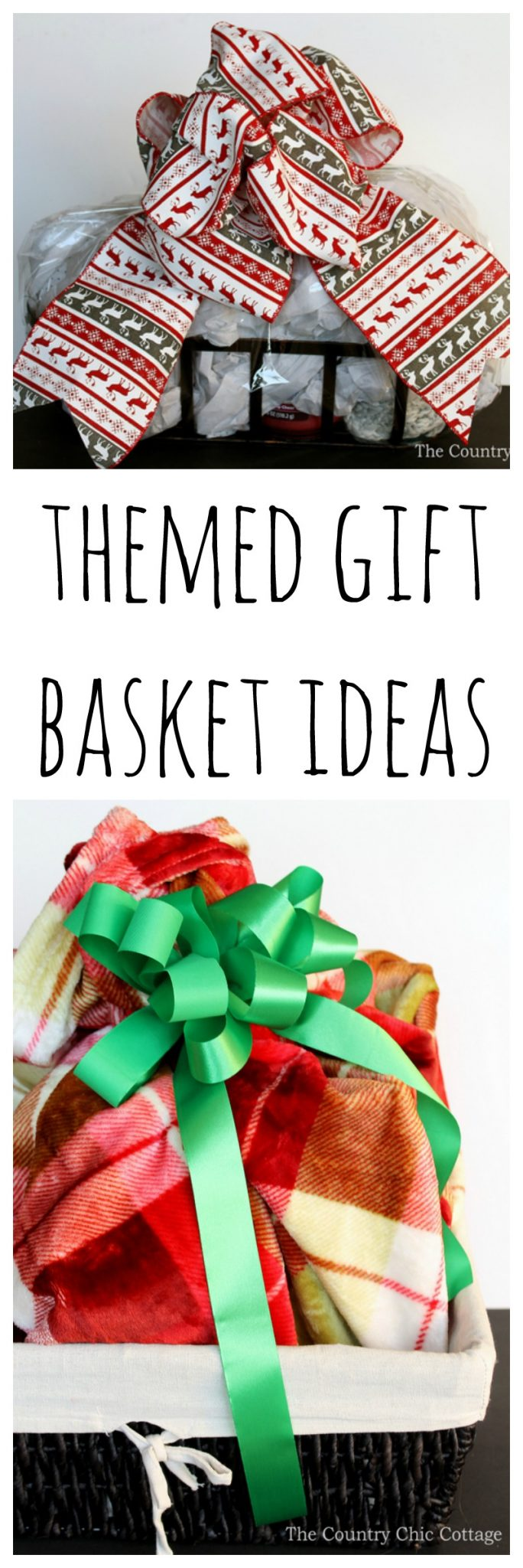 Our themed gift basket ideas are perfect for Christmas! Give everyone a gift basket this holiday season! I love the idea of using a blanket as a wrap for the gift basket!
