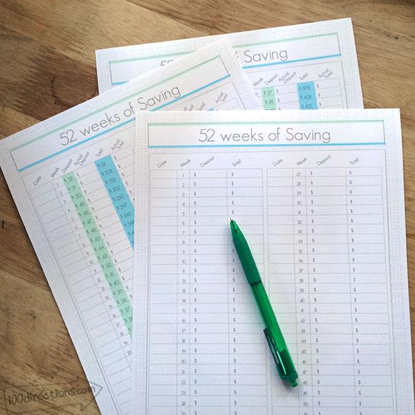 52 weeks of saving printable tracking kit by Jen Goode