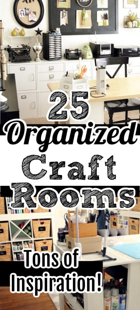 You will love these organized craft rooms!  Get over 25 craft rooms all in one place to inspired you to create your own craft room design in any space!