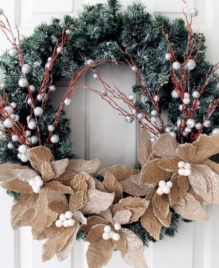 Make this burlap flower wreath for your home! A great addition to your winter home decor!