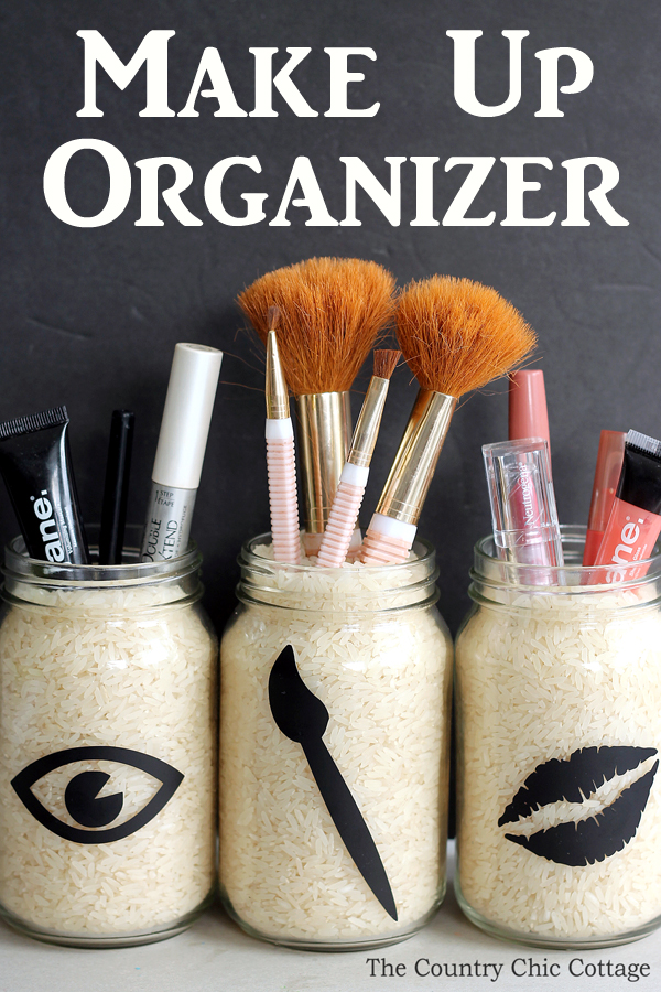 jars of rice holding makeup accessories