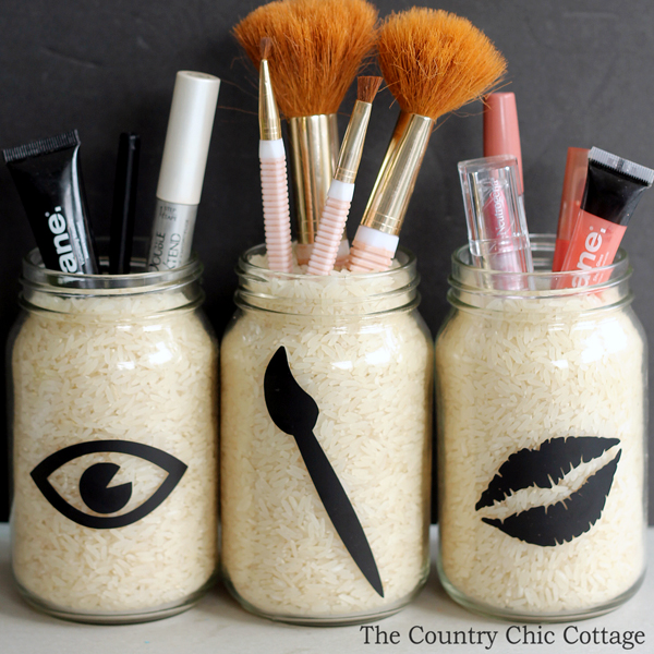 3 jars of rice with makeup accessories