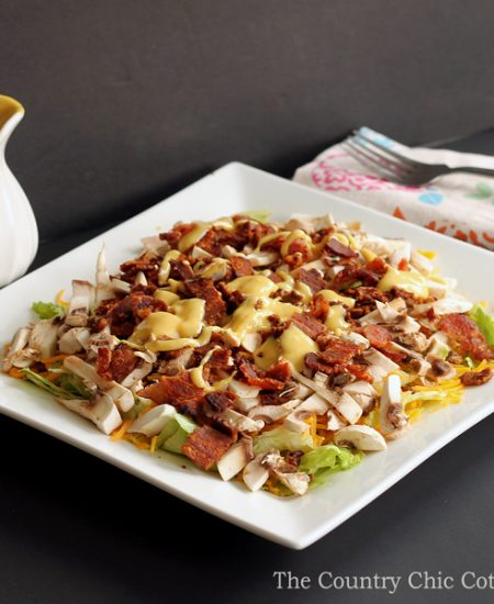 Make this mushroom bacon salad recipe for a hearty lunch or meal any time of the day! A fun healthy way to eat!