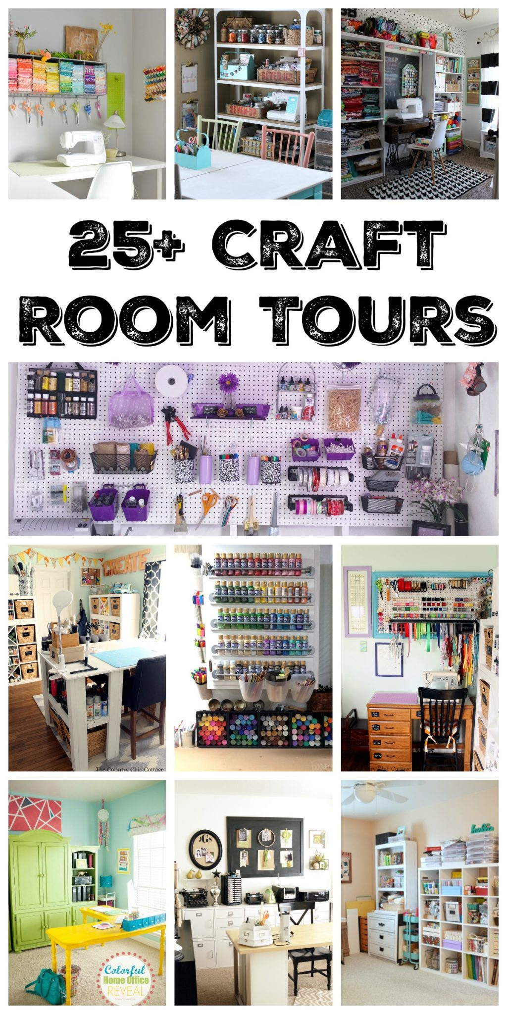 Over 25 amazing craft room tours! Get inspired to create your own craft room design with these organized craft rooms!