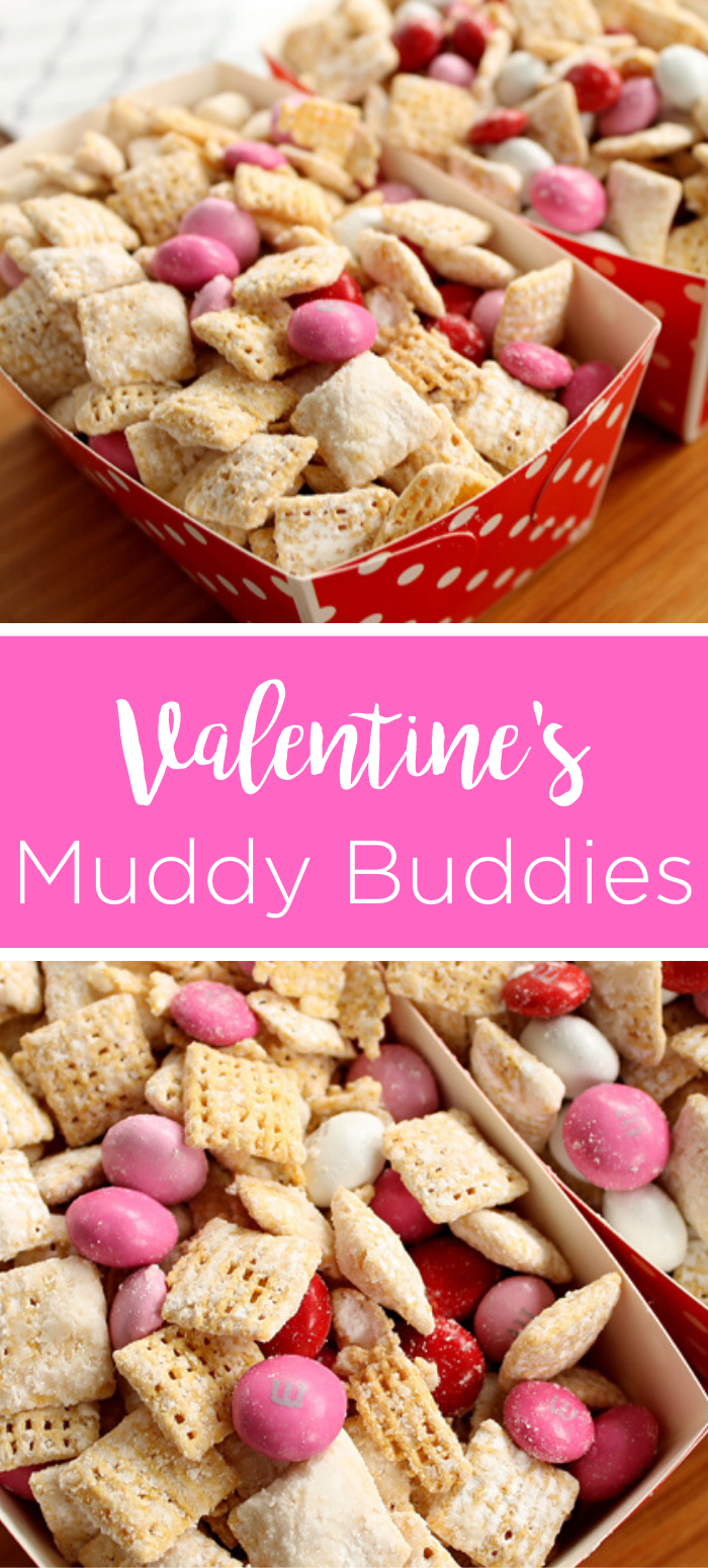 Make these Valentine's Day muddy buddies this year! This festive snack is perfect for Valentine's Day parties and more! #valentines #valentine #valentinesday #muddybuddies #recipe #yum #food #foodie #dessert #snacks