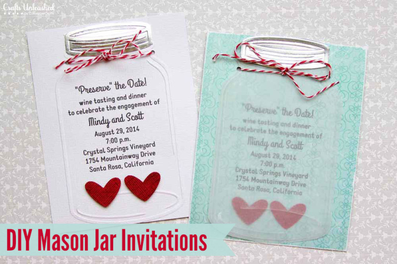 Cottage Mason Jar Wedding Invitation
