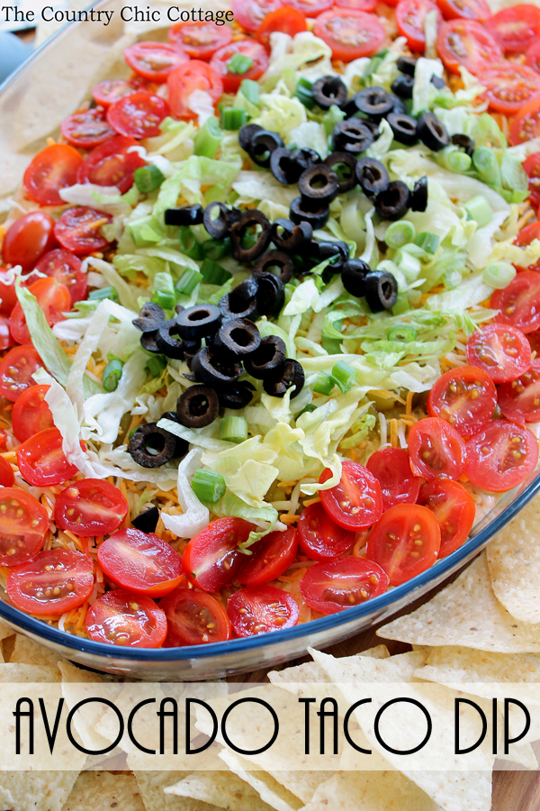 Make this avocado taco dip for the big game or anytime! A delicious dip that is the perfect appetizer at any party!