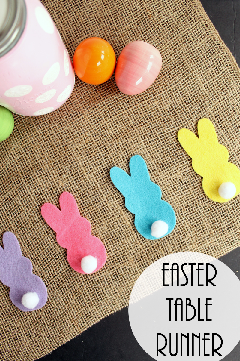 Make this burlap table runner for Easter! A quick and easy addition to your spring decor!