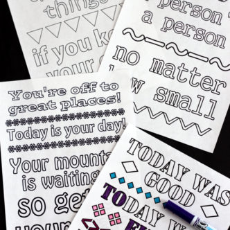 Print these free Dr. Seuss coloring pages! Quotes from Seuss himself on fun coloring pages that are perfect for kids and adults! If you love adult coloring pages, you will love these!