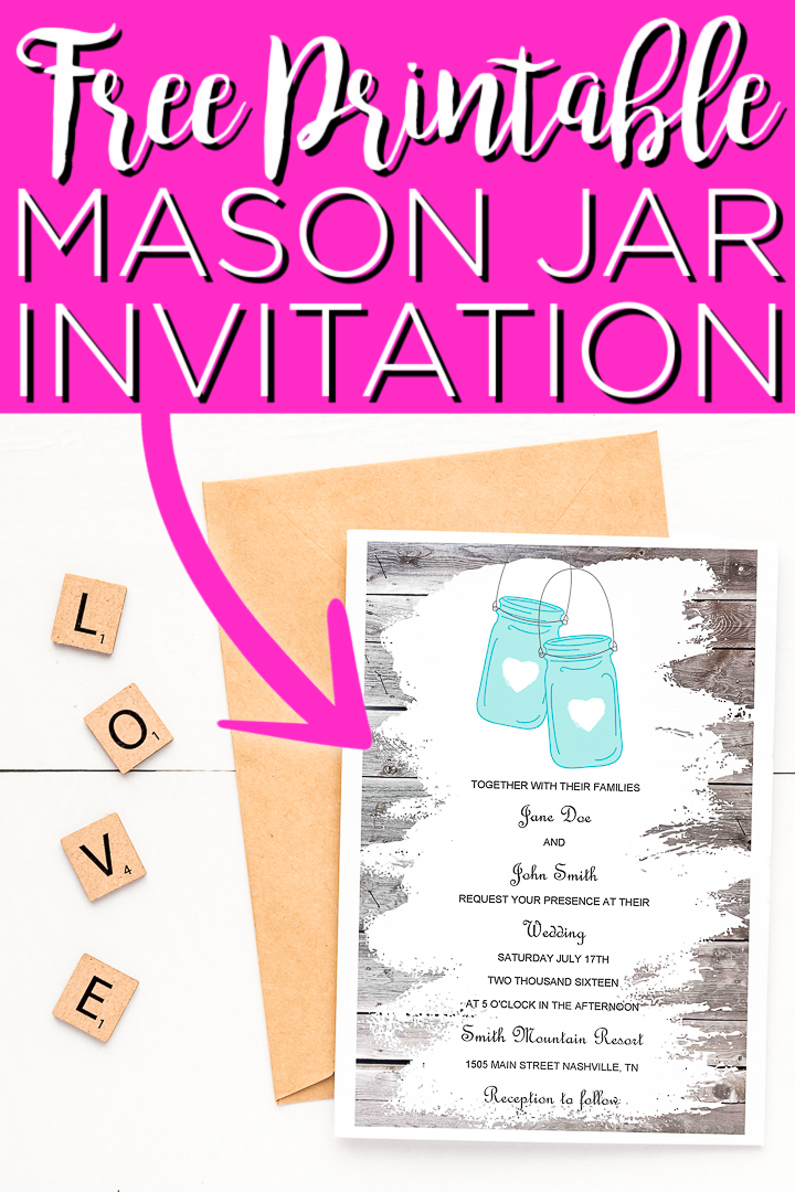 Print these mason jar invitations right from the comfort of your own home! This is a great way to throw a gorgeous rustic wedding on a budget! #masonjar #printable #freeprintable #wedding #invitation