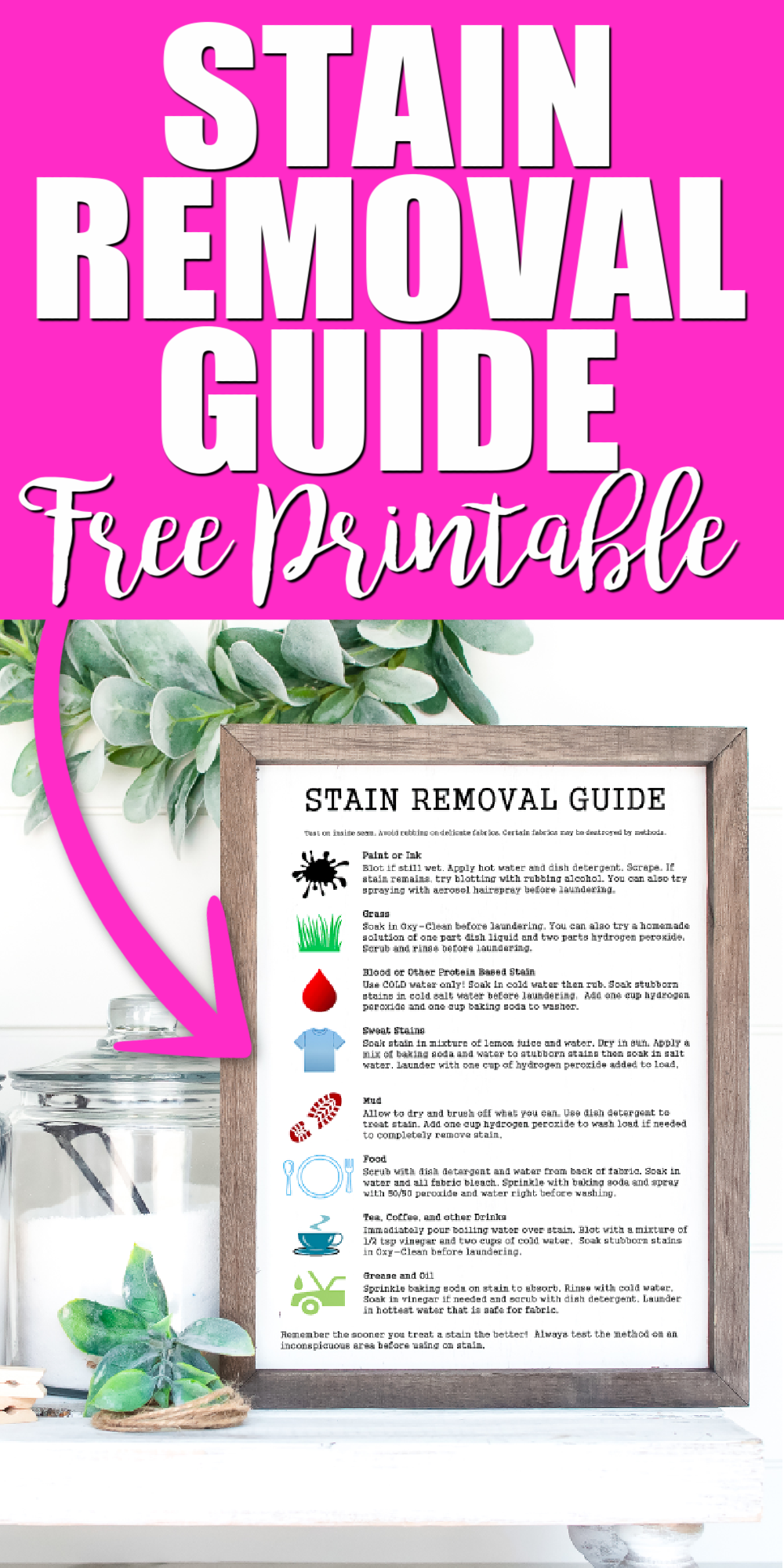 stain removal chart printable