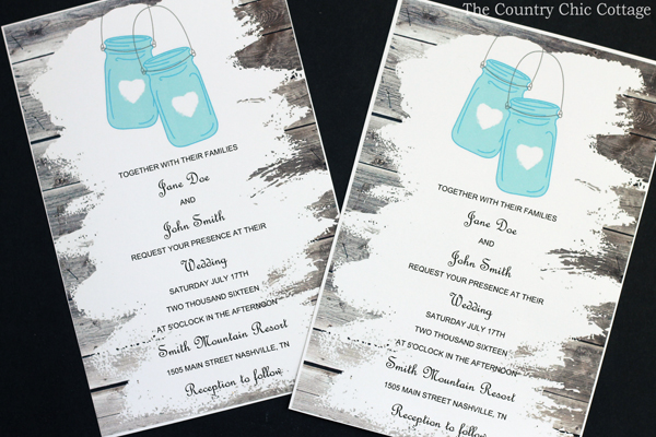 Wedding Invitations With Mason Jars The Country Chic Cottage - Free mason jar wedding invitation templates