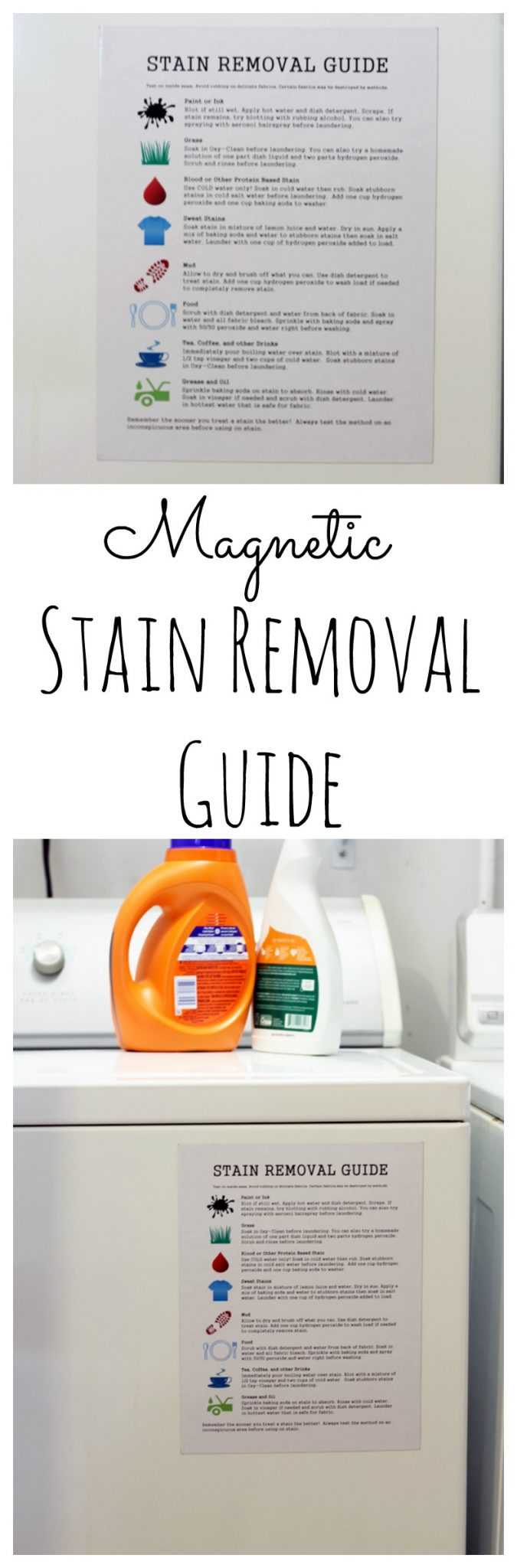 Hang this magnetic stain removal guide on your washing machine! Print for free and keep handy to remove stains on all of your clothes!