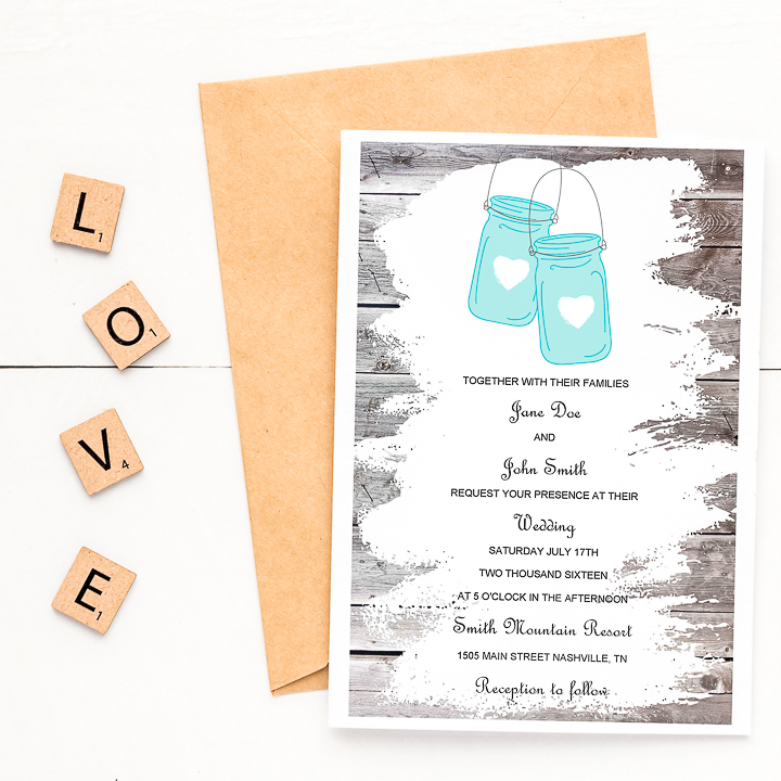 Free Mason Jar Wedding Invitation Template from www.thecountrychiccottage.net