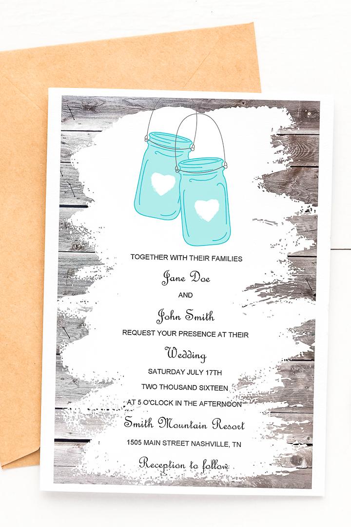Invitations imprimables gratuites de pot Mason