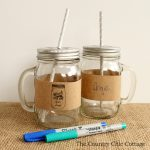 Add these party mason jar drink wrappers to any mason jar mug! Then let guests write their name on their drink! Great for weddings and other big parties!