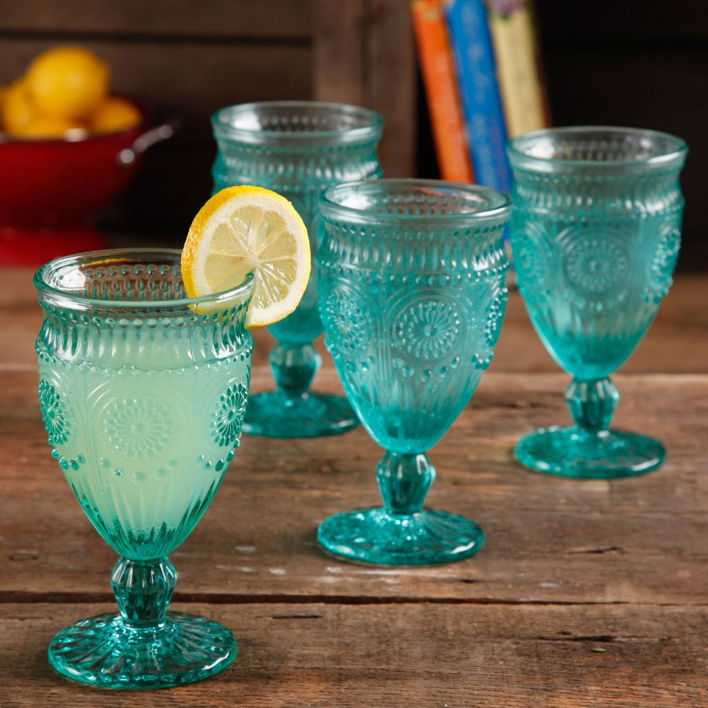 pioneer woman glass goblets