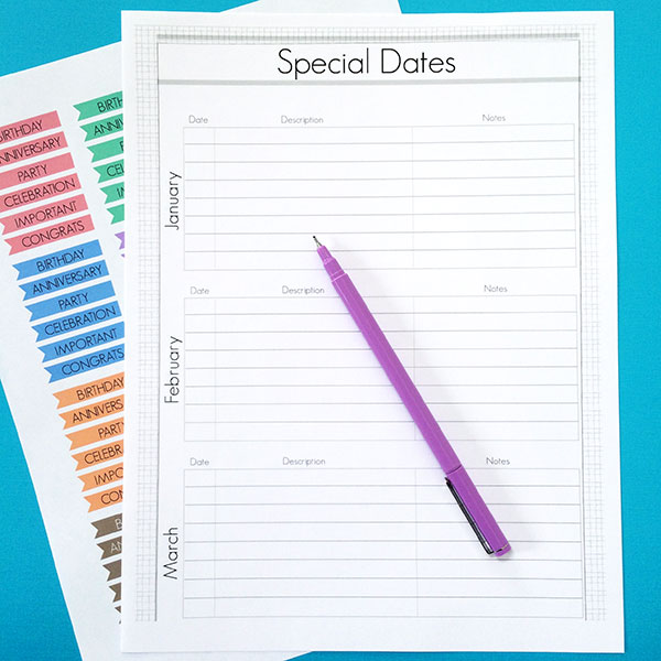 printable special dates planner page