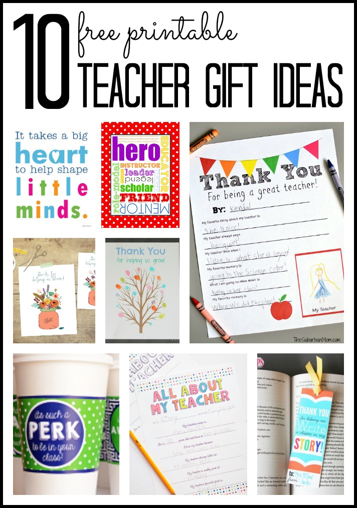 Classroom Keepsake Ideas ~ Printable teacher appreciation week gift ideas clipart