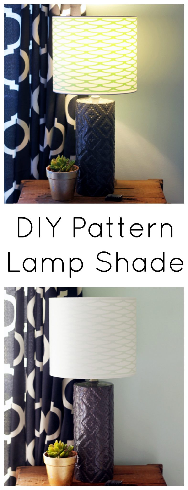 Learn more about adding pattern inside a lamp shade with this simple DIY project! Looks great when the lamp is on and off!