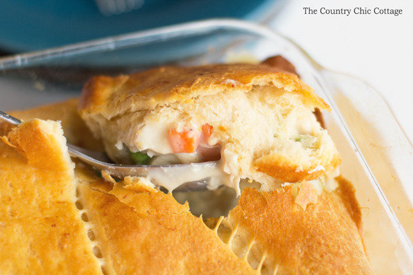 Make this chicken pot pie recipe for your family! This quick and easy version is ready in 30 minutes or less!