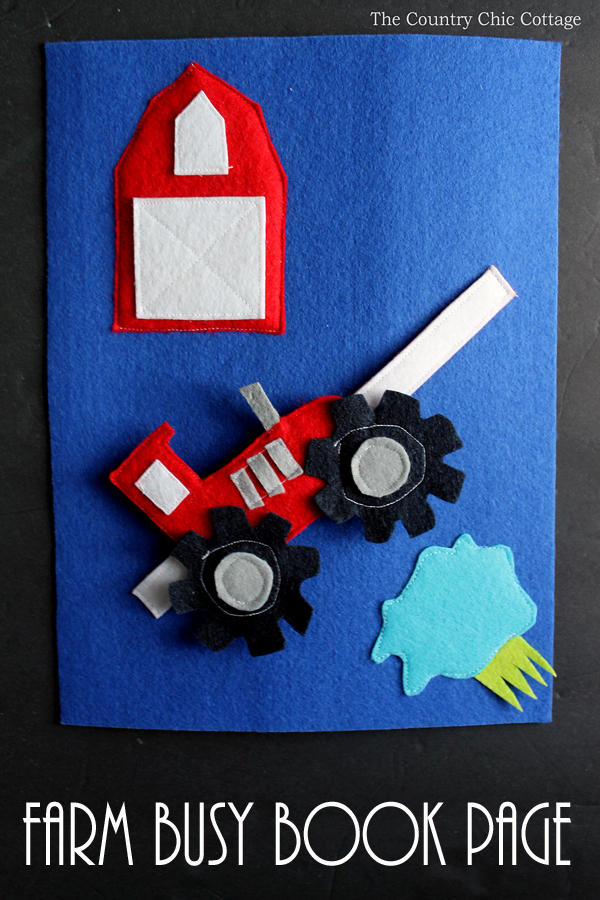 Make this farm busy book page for babies or toddlers! A great addition to a quiet book!