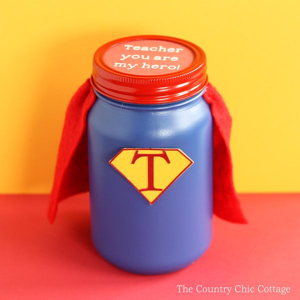 This hero teacher gift in a jar is perfect for Teacher Appreciation Week! Get the supplies you need to make this fun token of your appreciation for any teacher!
