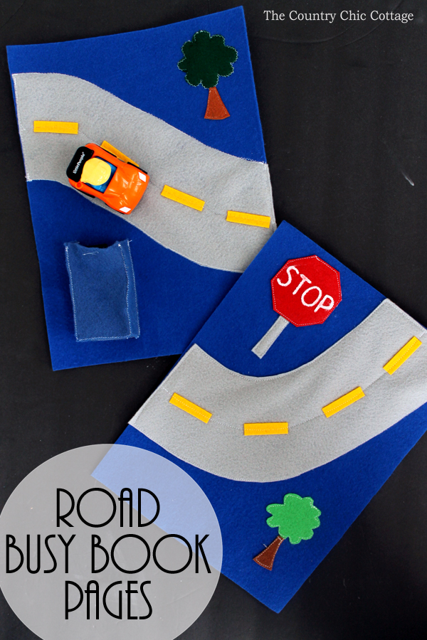 Make these road busy book pages for your baby or toddler! They will love driving a toy car on the road! A fun kids activity that is easy to make yourself!