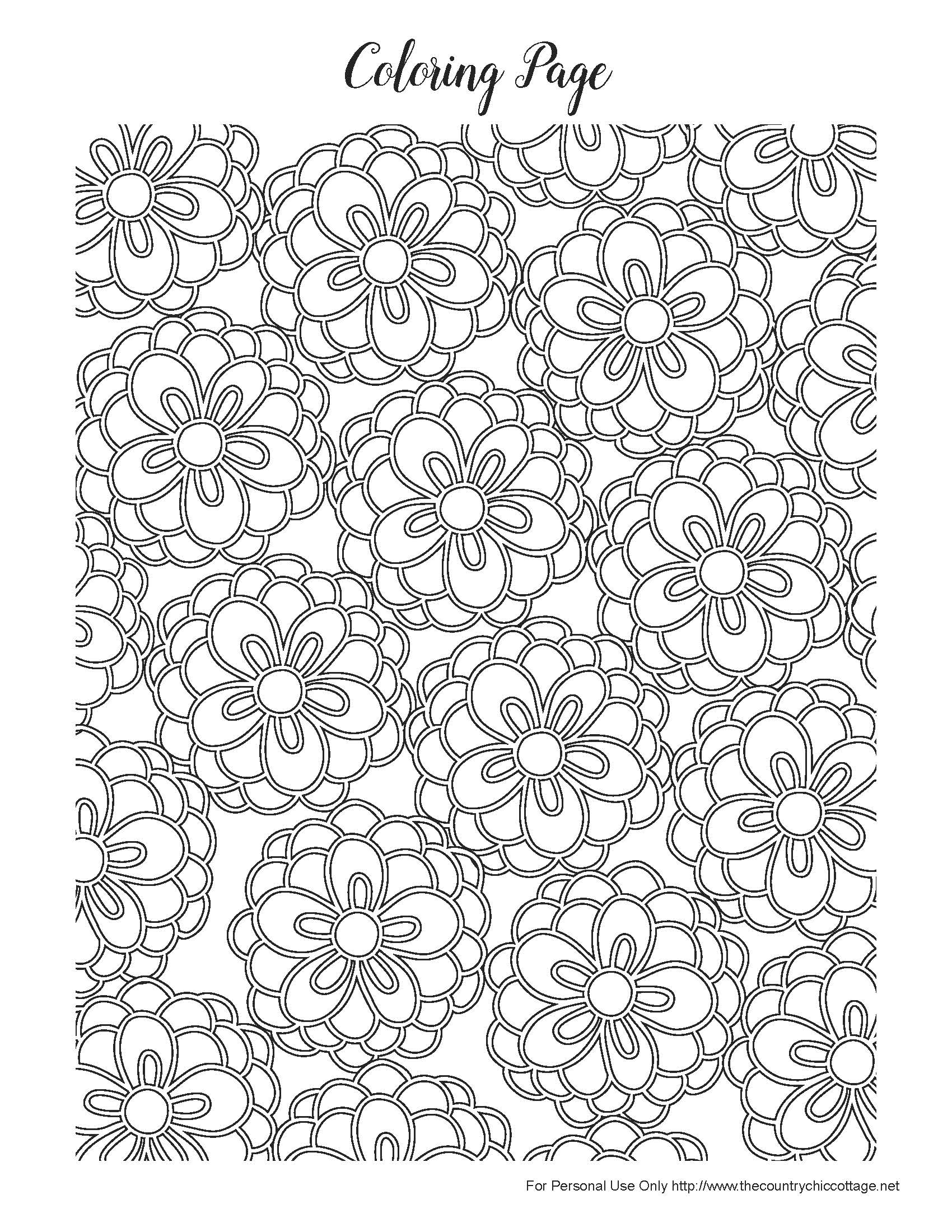 Free spring coloring pages for adults the country chic for Flower adult coloring pages