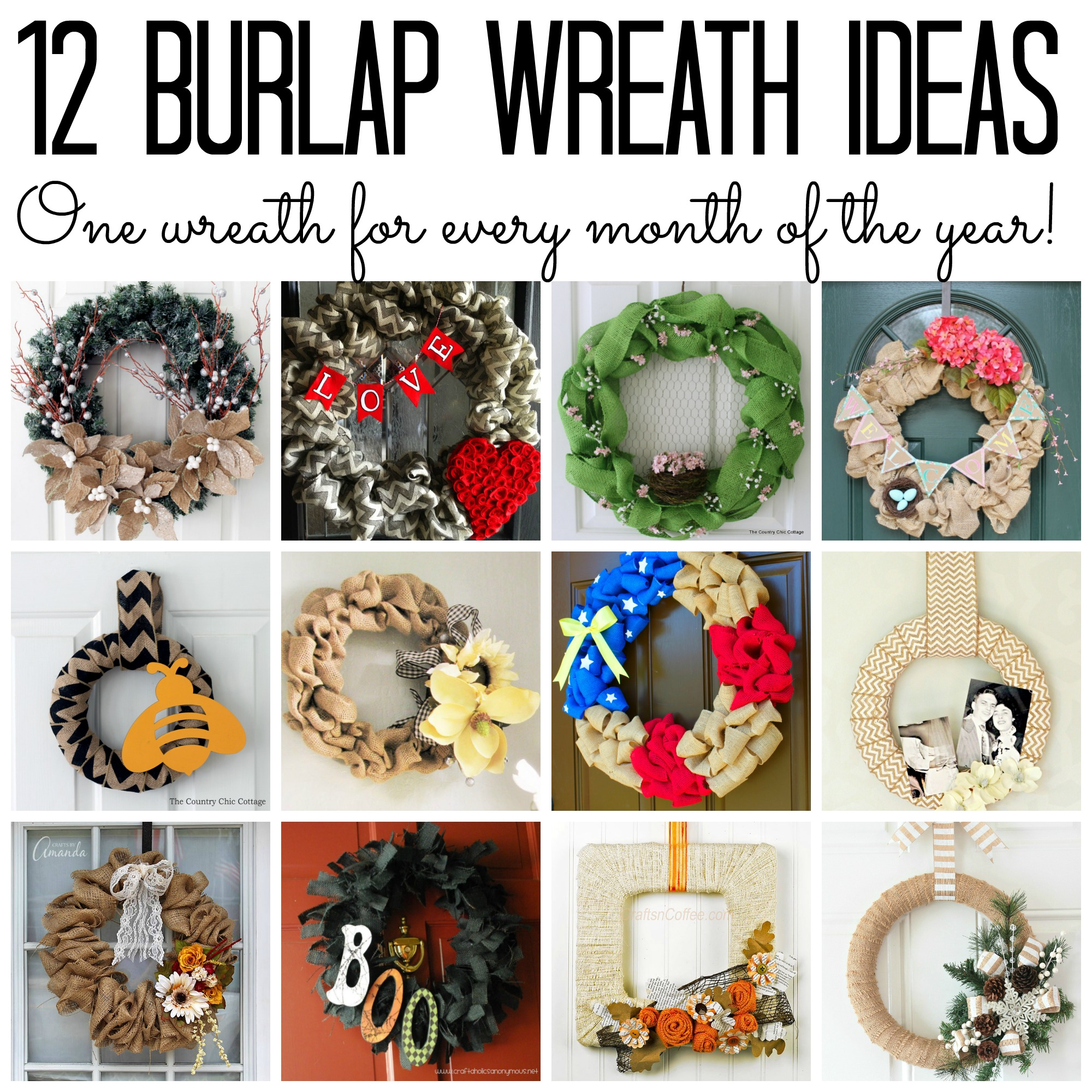 Burlap wreaths - 12 ideas for every month of the year! Great craft projects for your home!