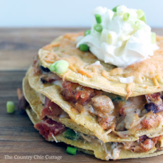 Chicken tortilla stack recipe - a perfect weeknight meal that the whole family will love!