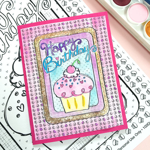 DIY Happy Birthday Cupcake Card by Jen Goode