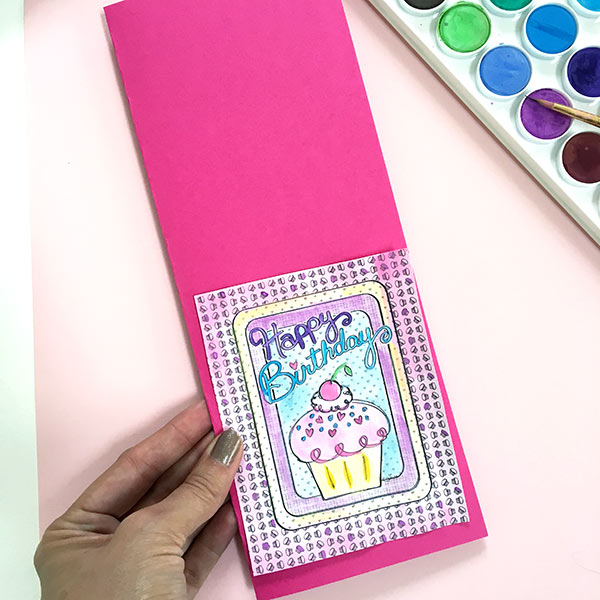 Make a birthday card with a coloring page