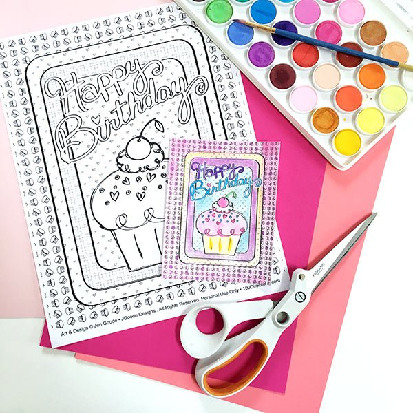DIY Happy Birthday Cupcake Card supplies