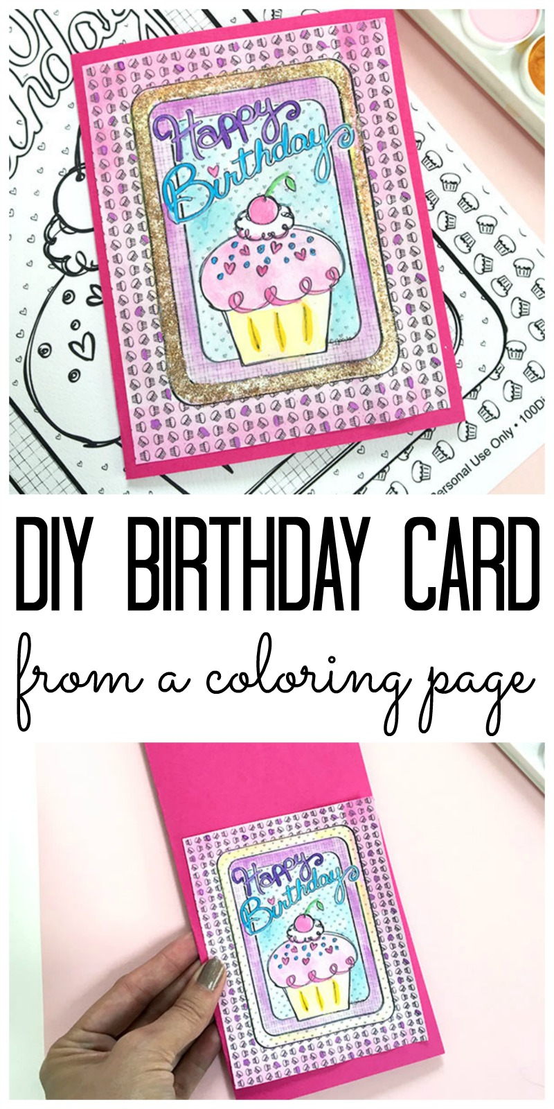 diy birthday card from a coloring page the country chic cottage