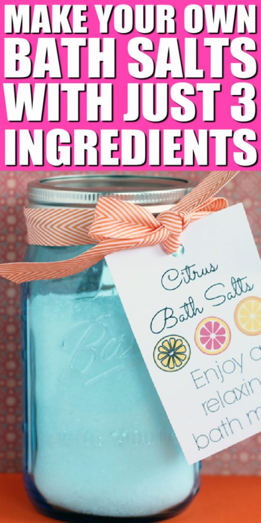 Make your own citrus bath salts for a great gift in a jar. Give this for Mother's Day or any occasion with a free printable tag. #bathsalts #masonjars #giftinajar #easygift