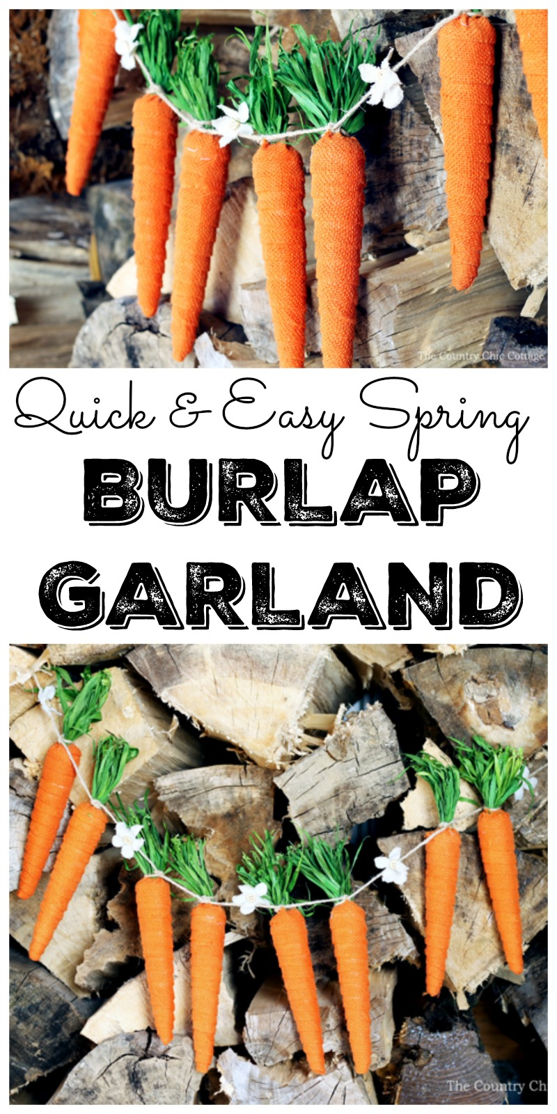 Make this quick and easy spring burlap garland for your home decor! A great project that just takes minutes to make!