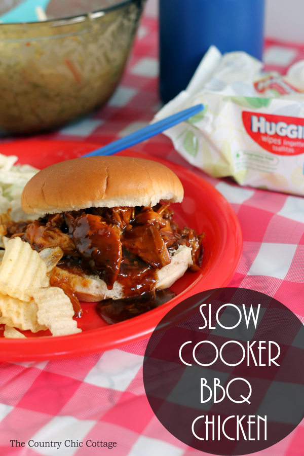 Make this slow cooker BBQ chicken recipe in your crock pot anytime of the year! A tangy barbecue recipe that the whole family will love!