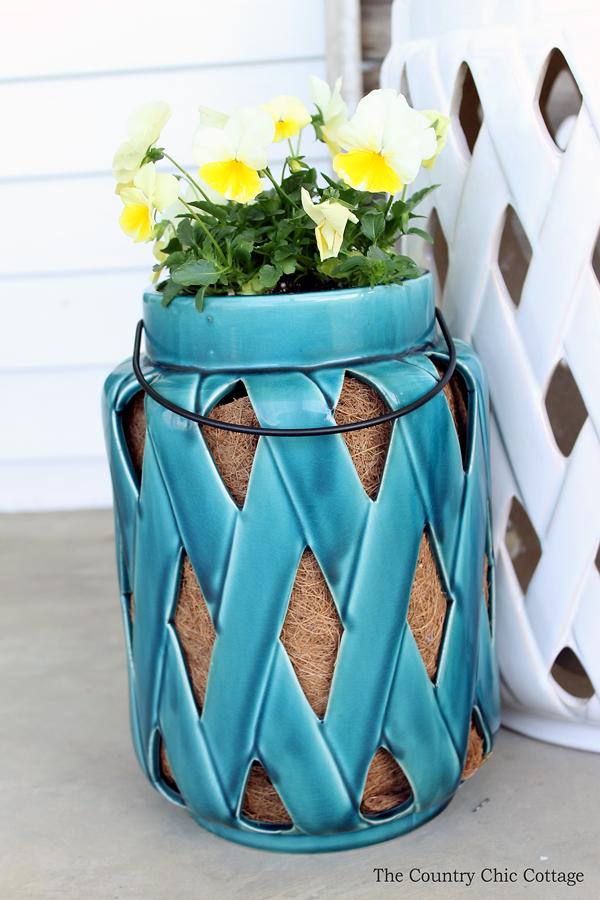 ceramic lantern used as a planter