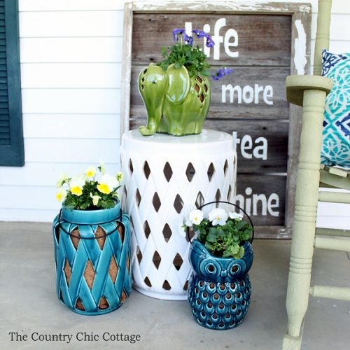 Ideas on using lanterns as planters around your home! Great for your outdoor patios and container gardens this summer!