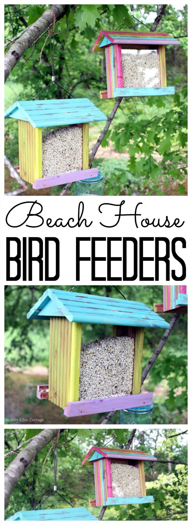 Paint these beach house bird feeders in minutes! A cute craft that the whole family will love! If you family loves birding, this is a DIY project for you!