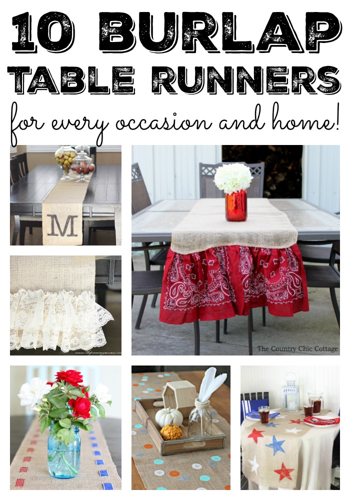 Burlap table runners the country chic cottage burlap table runners for every occasion and home great diy ideas for crafters solutioingenieria Gallery