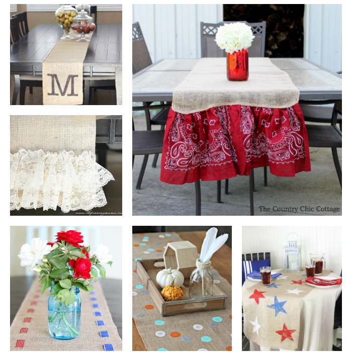 Burlap table runners for every occasion and home! Great DIY ideas for crafters!