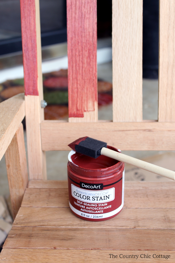 How to use colored stain on unfinished furniture of all kinds! Love this child's rocking chair!