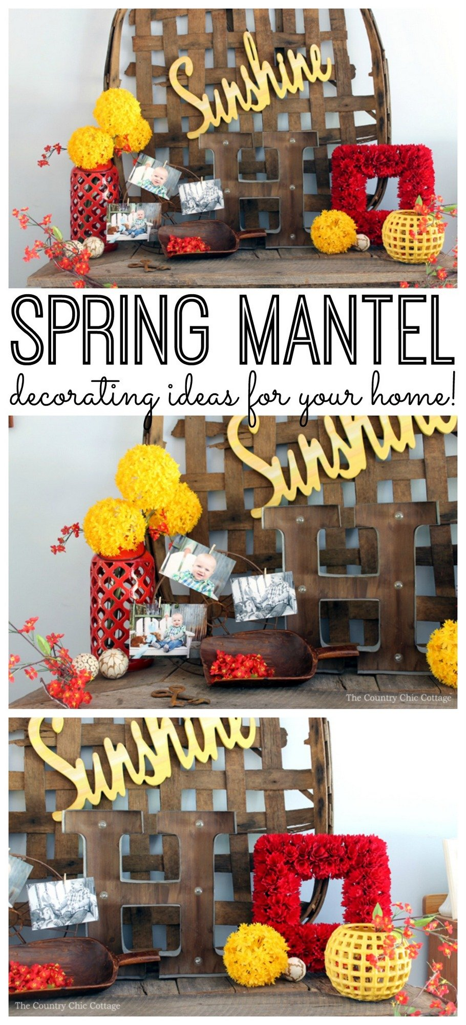Get spring mantel decorating ideas here! A fun spring mantel that will look great in your home decor!