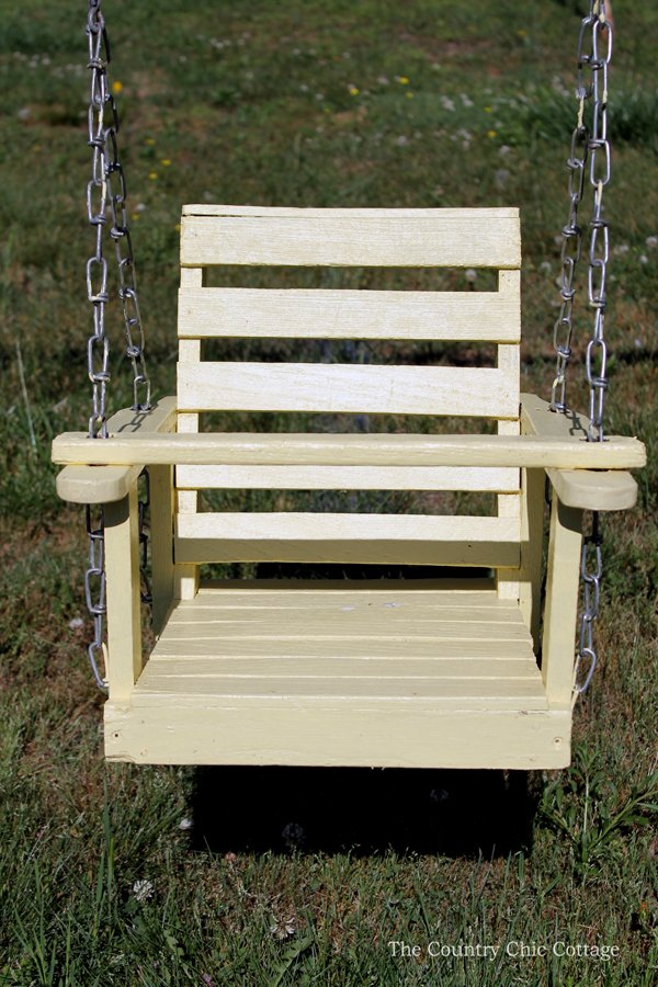 Details on this wood baby swing refinish! You can revitalize an old wooden swing like this as well!